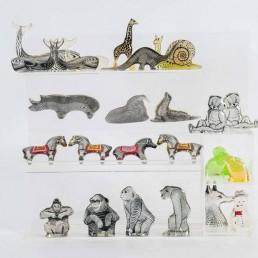 Abraham Palatnik Set of a Hippo, a Rhino and a Buffalo