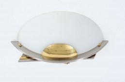 B + M Leuchten Set of Four Brass Glass and Chrome Sconces