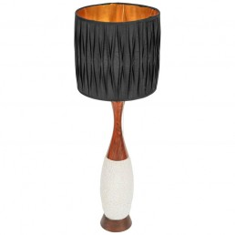 Copper based floor/table lamp with ceramic body cherrywood top golden lampshade