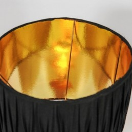 Detail copper based floor/table lamp with ceramic body cherrywood top golden lampshade