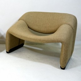 Pair of Sand Colored Groovy Chairs by Pierre Paulin for Artifort