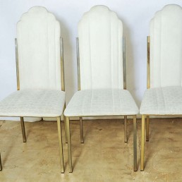 Set of Six Hollywood Regency Dining Chairs by Alain Delon for Maison Jansen