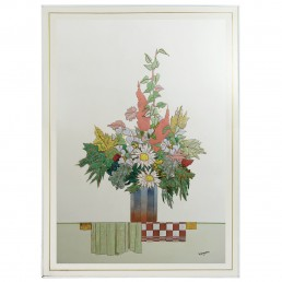 Colorful Enamel Wall Relief Depicting a Fall Bouquet Signed W. Stavlon