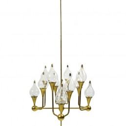 Freddie Andersen Midcentury 12-Arm Brass Oil Lamp Candelabra Chandelier