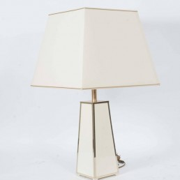 Creme Colored Hollywood Regency Table Lamp with Gold Colored Details