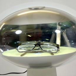 illuminated aluminium eye-shaped displays