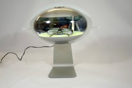 illuminated aluminium eye-shaped displays