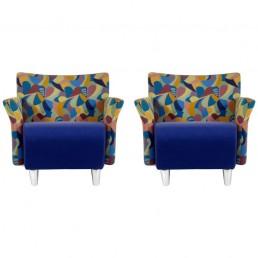 Pair of Scandinavian Erik Jørgensen Postmodern Memphis Style Lounge Chairs 1990s