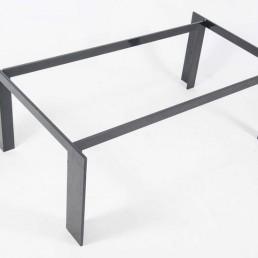 Modern Coffee Table Made of Powder Coated Black Steel and Grey Smoke Glass