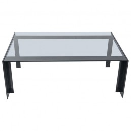 Modern Coffee Table Made of Powder Coated Black Steel and Grey Smoke Glass