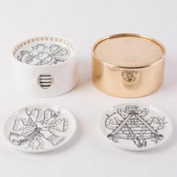 Piero Fornasetti Musicalia Coasters by Fornasetti Milano in original box