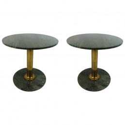 granite and brass round tables Hollywood Regency
