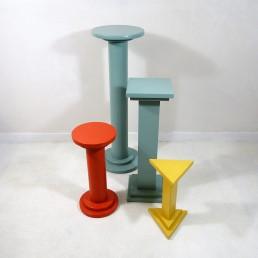 Set of four art deco style wooden pedestals