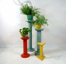 Set of four art deco style wooden pedestals