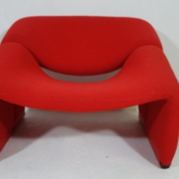 Pair of red midcentury groovy chairs F598 Red Feet by Pierre Paulin for Artifort