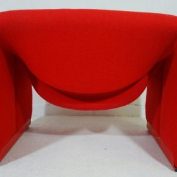 Backside red midcentury groovy chairs F598 Red Feet by Pierre Paulin for Artifort
