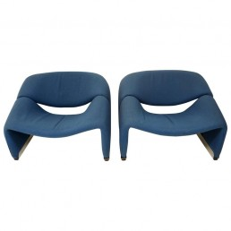 Pair of Blue Midcentury Groovy Chairs by Pierre Paulin for Artifort