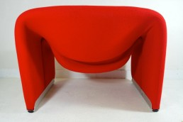 Pair of Red Groovy Chairs F598 Silver Colored Feet by Pierre Paulin for Artifort
