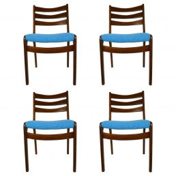 four Scandinavian teak dining chairs