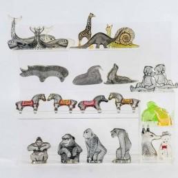 Set of Three Large Elephants in Lucite Made by Abraham Palatnik