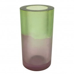 Green Purple Resin Vase Postmodern Memphis Style by Steve Zoller