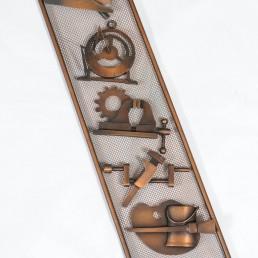 Detail huge wall-filling copper art work by Huibert Bernardus Wilhelmus de Ru