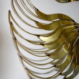 Brass wall sculpture peacock designed and made by Curtis Jeré