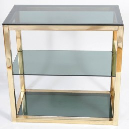 Hollywood regency etagère in shiny brass and smoked glass by Renato Zevi