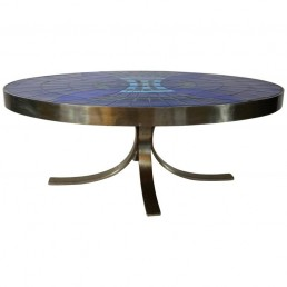 Midcentury Oval Steel Frame Cocktail or Coffee Table with blue tiles Guy Trévoux