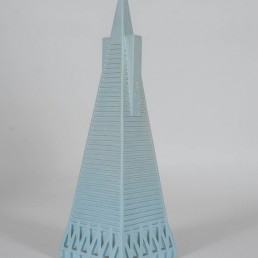 Two Model Buildings in the Style of Lladro, One of Them the Transamerica Pyramid