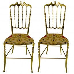 Pair of two Shiny Brass Chairs in Hollywood Regency style made by Chiavari