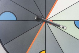 Big Modernistic Wall Clock in Memphis Style created by Kurt Delbanco for Morphos