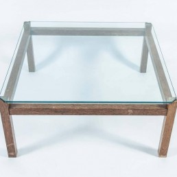 Midcentury Wengé and Glass Coffee Table designed by Kho Liang Ie for Artifort