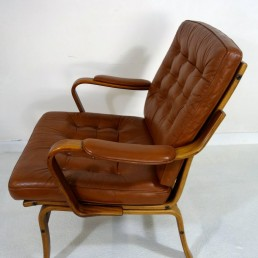 Pair of Scandinavian Midcentury Modern Wood and Leather Armchairs by Göte Möbel