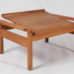 Pair of Midcentury Hans Wegner Style WoodenOttomans with Padded Leather Cushions
