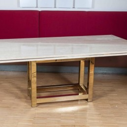 Hollywood Glam Dining Table with Brass Base and Travertine Top