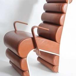 Steel and leather chairs designed for Parisian nightclub Le Queen
