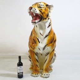 Big Midcentury Modern Ceramic Tiger in the style of Ronzan marked Made in Italy