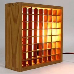 Square Wooden Ceiling Light with Grid Light Diffuser