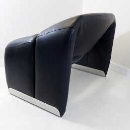PAIR OF GROOVY CHAIRS IN BLACK LEATHER BY PIERRE PAULIN FOR ARTIFORT