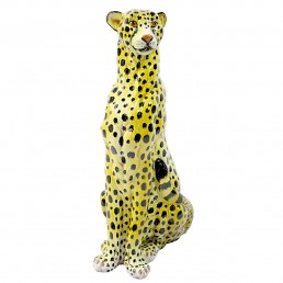 MIDCENTURY SITTING CHEETAH MADE OF MOLDED CERAMIC MARKED X.MY
