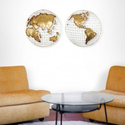 PAIR OF BRASS WALL XCULPTURES TOGETHER FORMING 'THE WORLD' BY CURTIS JERÉ