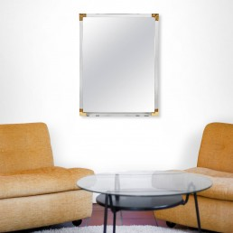 LUCITE FRAMED MIRROR WITH BRASS DETAILS