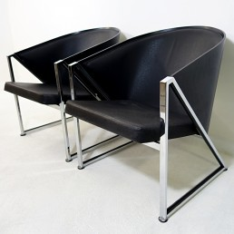 Pair of Postmodern Art Deco like Easy Chairs Made of Chrome and Leatherette