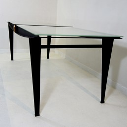 Mid-Century Modern Dining Table with Black Steel Frame and Sandblasted Glass Top