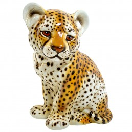 Midcentury Ceramic Statuette of a Baby Panther in the Style of Ronzan