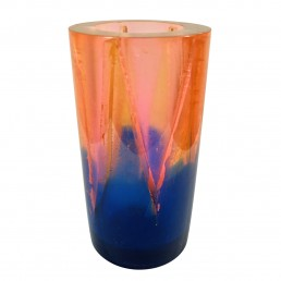 Orange Blue Resin Vase Postmodern Memphis Style by Steve Zoller