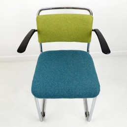 Steel Frame Chair Model 201 by Gispen in Bicolor Upholstery