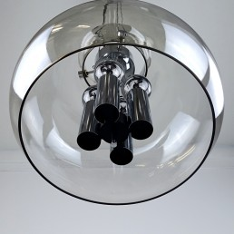 Large Midcentury Glass Ball Pendant with Chrome Hardware by Glasshütte Limburg