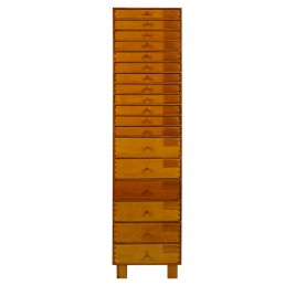 Midcentury Wooden Cabinet with 18 Drawers